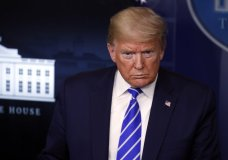 President Donald Trump speaks about the coronavirus in the James Brady Press Briefing Room of the White House, Thursday, April 23, 2020, in Washington. (AP Photo/Alex Brandon)