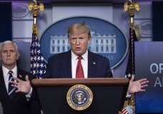 President Donald Trump speaks about the coronavirus, accompanied by Vice President Mike Pence, in the James Brady Press Briefing Room of the White House, Thursday, April 16, 2020, in Washington. (AP Photo/Alex Brandon)