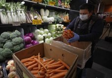 A worker, wearing a protective mask and gloves against the COVID-19 coronavirus, stocks produce before the opening of Gus's Community Market, Friday, March 27, 2020, in San Francisco. Health experts say there's no evidence the new coronavirus is spread through food. That's because organisms take different biological paths to sicken people. (AP Photo/Ben Margot)