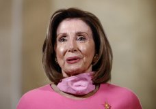 House Speaker Nancy Pelosi of Calif., speaks during an interview with The Associated Press on Capitol Hill in Washington, Wednesday, May 13, 2020. (AP Photo/Patrick Semansky)
