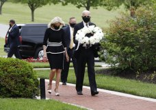 Democratic presidential candidate, former Vice President Joe Biden and Jill Biden, arrive to lay a wreath at the Delaware Memorial Bridge Veterans Memorial Park, Monday, May 25, 2020, in New Castle, Del. (AP Photo/Patrick Semansky)