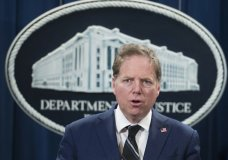 FILE - In this Oct. 26, 2018, file photo, Geoffrey Berman, U.S. attorney for the Southern District of New York, speaks during a news conference at the Department of Justice in Washington. The Justice Department moved abruptly Friday, June 19, 2020, to oust Berman, the U.S. attorney in Manhattan overseeing key prosecutions of President Donald Trump's allies and an investigation of his personal lawyer Rudy Giuliani. But Berman said he was refusing to leave his post and his ongoing investigations would continue. (AP Photo/Alex Brandon, File)