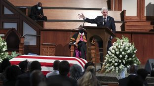 Former President Bill Clinton speaks during the funeral service for the late Rep. John Lewis, D-Ga., at Ebenezer Baptist Church in Atlanta, Thursday, July 30, 2020. (Alyssa Pointer/Atlanta Journal-Constitution via AP, Pool)