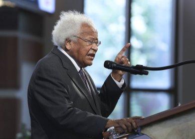 Rev. James Lawson speaks during the funeral service for the late Rep. John Lewis, D-Ga., at Ebenezer Baptist Church in Atlanta, Thursday, July 30, 2020. (Alyssa Pointer/Atlanta Journal-Constitution via AP, Pool)