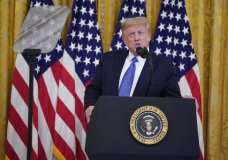 """President Donald Trump speaks during an event on """"Operation Legend: Combatting Violent Crime in American Cities,"""" in the East Room of the White House, Wednesday, July 22, 2020, in Washington. (AP Photo/Evan Vucci)"""
