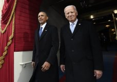 FILE - In this Jan. 20, 2017, file photo, President Barack Obama and Vice President Joe Biden arrive for the Presidential Inauguration of Donald Trump at the U.S. Capitol in Washington. 2020 presidential candidate and former Vice President Biden is releasing a video of his first in-person meeting with former President Obama since the coronavirus outbreak began, enlisting the former president to help slam his successor's response to the pandemic. (Saul Loeb/Pool Photo via AP, File)