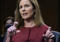 Supreme Court nominee Amy Coney Barrett speaks during the second day of her confirmation hearing before the Senate Judiciary Committee on Capitol Hill in Washington, Tuesday, Oct. 13, 2020. (Drew Angerer/Pool via AP)