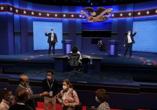 Mock debaters perform onstage as preparations take place for the second Presidential debate at Belmont University, Wednesday, Oct. 21, 2020, in Nashville, Tenn. President Donald Trump and Democratic presidential candidate, former Vice President Joe Biden are scheduled to debate Thursday, Oct. 22. (AP Photo/Patrick Semansky)