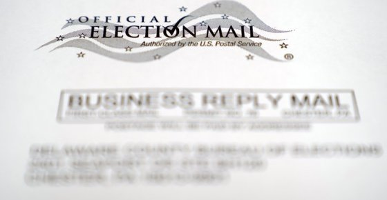 In this Oct. 13, 2020, photo, an envelope of a Pennsylvania official mail-in ballot for the 2020 general election in Marple Township, Pa. The Supreme Court will allow Pennsylvania to count ballots received up to three days after the election, rejecting a Republican plea. The justices divided 4-4 on Oct. 19, an outcome that upholds a state Supreme Court ruling that allowed election officials to receive and count ballots until Nov. 6, even if they don't have a clear postmark. (AP Photo/Matt Slocum)