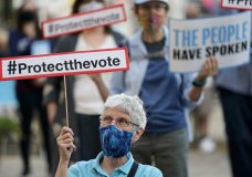 Protesters gather at a protect the vote rally in downtown San Antonio, Wednesday, Nov. 4, 2020. (AP Photo/Eric Gay)