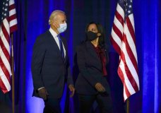 Democratic presidential candidate former Vice President Joe Biden arrives with his running mate Sen. Kamala Harris, D-Calif., to speak Friday, Nov. 6, 2020, in Wilmington, Del. (AP Photo/Carolyn Kaster)