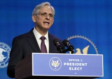 Attorney General nominee Merrick Garland speaks during an event with President-elect Joe Biden and Vice President-elect Kamala Harris at The Queen theater in Wilmington, Del., Thursday, Jan. 7, 2021. (AP Photo/Susan Walsh)