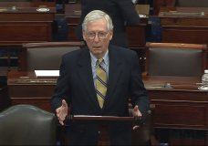 In this image from video, Senate Minority Leader Mitch McConnell of Ky., speaks after the Senate acquitted former President Donald Trump in his second impeachment trial in the Senate at the U.S. Capitol in Washington, Saturday, Feb. 13, 2021. Trump was accused of inciting the Jan. 6 attack on the U.S. Capitol, and the acquittal gives him a historic second victory in the court of impeachment. (Senate Television via AP)