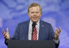 "FILE - Lou Dobbs, with Fox News, speaks at the Conservative Political Action Conference (CPAC), on Feb. 24, 2017, in Oxon Hill, Md. Fox Business Network's ""Lou Dobbs Tonight"" has been canceled. In a statement Friday, Feb. 5, 2021, Fox News said the move was part of routine programming changes that it had foreshadowed last fall. (AP Photo/Alex Brandon, File)"