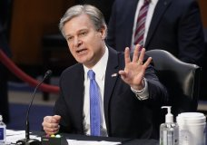 FBI Director Christopher Wray testifies before the Senate Judiciary Committee on Capitol Hill in Washington, Tuesday, March 2, 2021. (Mandel Ngan/Pool via AP)
