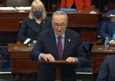 FILE - In this image from video, Senate Majority Leader Chuck Schumer of N.Y., speaks before the final vote on the Senate version of the COVID-19 relief bill in the Senate at the U.S. Capitol in Washington, Saturday, March 6, 2021. The $1.9 trillion federal pandemic relief package is expected to make its way through the House and hit President Joe Biden's desk soon. It includes plans for direct payments to most Americans, aid to small businesses, financial help for schools and much more to help the country recover from the financial ravages of the pandemic. (Senate Television via AP, File)