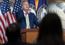 House Minority Leader Kevin McCarthy of Calif., Thursday, April 15, 2021, speaks during a news conference on Capitol Hill in Washington. (AP Photo/Jacquelyn Martin)