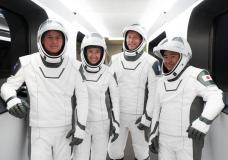 This Sunday, April 18, 2021 photo made available by SpaceX shows, from left, NASA astronauts Shane Kimbrough and Megan McArthur, European Space Agency astronaut Thomas Pesquet and Japan Aerospace E...