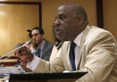 FILE - In this April 23, 2019 file photo, State Sen. Steven Bradford, D-Compton, speaks during a ...