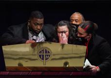 Katie and Aubrey Wright, parents of Daunte Wright, cry as the speak during funeral services of Daunte Wright at Shiloh Temple International Ministries in Minneapolis, Thursday, April 22, 2021. Wright, 20, was fatally shot by a Brooklyn Center, Minn., police officer during a traffic stop. (AP Photo/Julio Cortez, Pool)