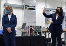 Vice President Kamala Harris tours clean energy laboratories with Sen. Tammy Baldwin, D-Wis., at the University of Wisconsin-Milwaukee during a visit to promote President Joe Biden's $2 trillion jobs and infrastructure plan, in Milwaukee, Tuesday, May 4, 2021. (AP Photo/Susan Walsh)
