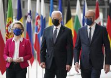 President Joe Biden, center, walks with European Council President Charles Michel, right, and European Commission President Ursula von der Leyen, during the United States-European Union Summit at the European Council in Brussels, Tuesday, June 15, 2021. (AP Photo/Patrick Semansky)