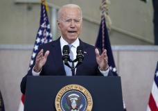 President Joe Biden delivers a speech on voting rights at the National Constitution Center, Tuesday, July 13, 2021, in Philadelphia. (AP Photo/Evan Vucci)