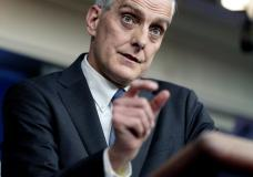 FILE - In this March 4, 2021 file photo, Veterans Affairs Secretary Denis McDonough speaks during a press briefing at the White House in Washington. The Department of Veterans Affairs on Monday became the first major federal agency to require health care workers to get COVID-19 vaccines. The decision comes as the aggressive delta variant spreads and some communities report troubling increases in hospitalizations among unvaccinated people. (AP Photo/Andrew Harnik)