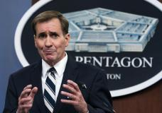 Pentagon spokesman John Kirby speaks about the situation during a briefing at the Pentagon in Washington, Monday, Aug. 23, 2021. (AP Photo/Manuel Balce Ceneta)