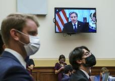 Secretary of State Antony Blinken appears remotely on a TV monitor to answer questions from the House Foreign Affairs Committee about the U.S. withdrawal from Afghanistan, at the Capitol in Washington, Monday, Sept. 13, 2021. (AP Photo/J. Scott Applewhite)