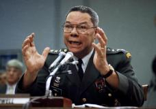 FILE - In this Sept. 25, 1991, file photo, Gen. Colin Powell, chairman of the Joint Chiefs of Staff, speaks on Capitol Hill in Washington, at a House Armed Services subcommittee. Powell, former Joint Chiefs chairman and secretary of state, has died from COVID-19 complications. In an announcement on social media Monday, the family said Powell had been fully vaccinated. He was 84. (AP Photo/Marcy Nighswander, File)