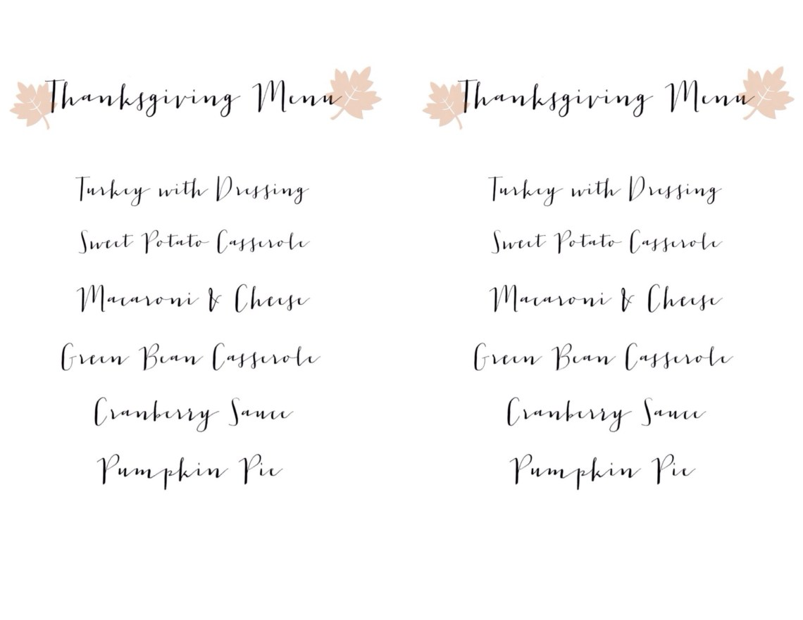 Thanksgiving dinner Menu - free printable www.frostedevents.com Thanksgiving Ideas & Inspiration