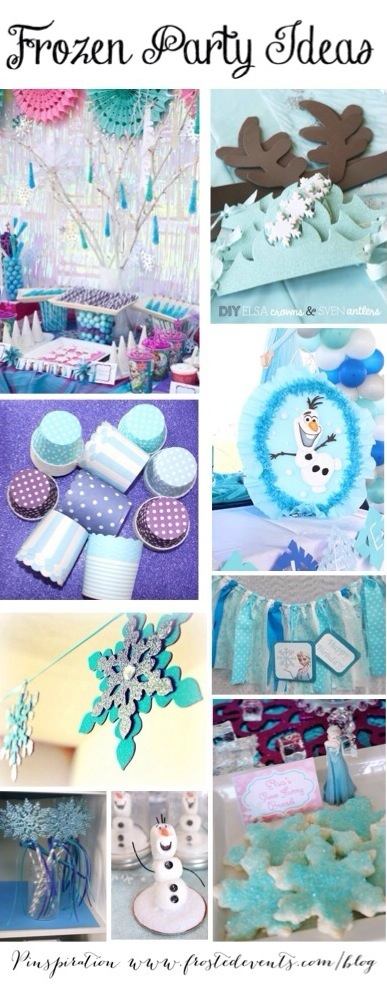 Disney Frozen Theme Party Ideas and Inspiration- www.frostedevents.com -Cake, cupcakes, crafts, favors, decorations