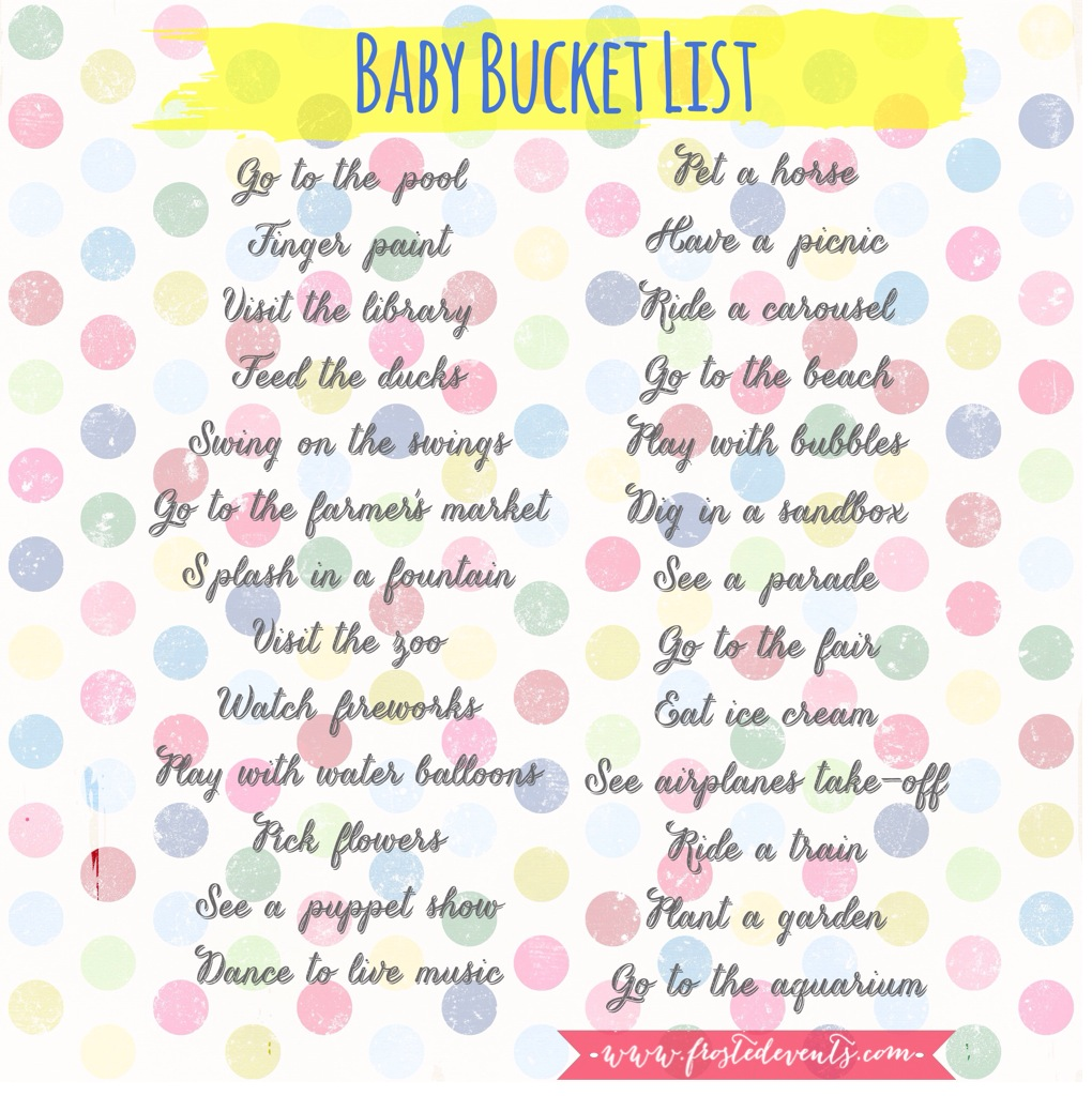 Baby Bucket List- Fun Things to Do with your Baby this Summer