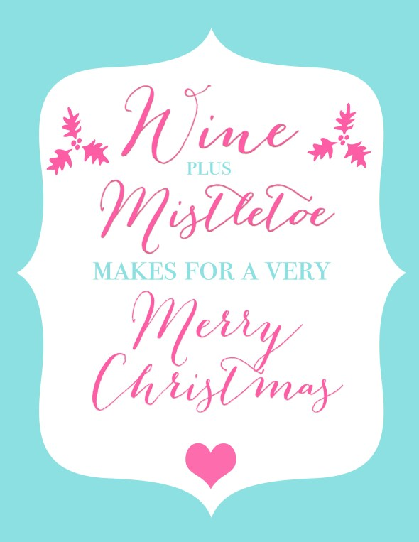 Free Christmas Party Printable Wine Plus Mistletoe www.frostedevents.com