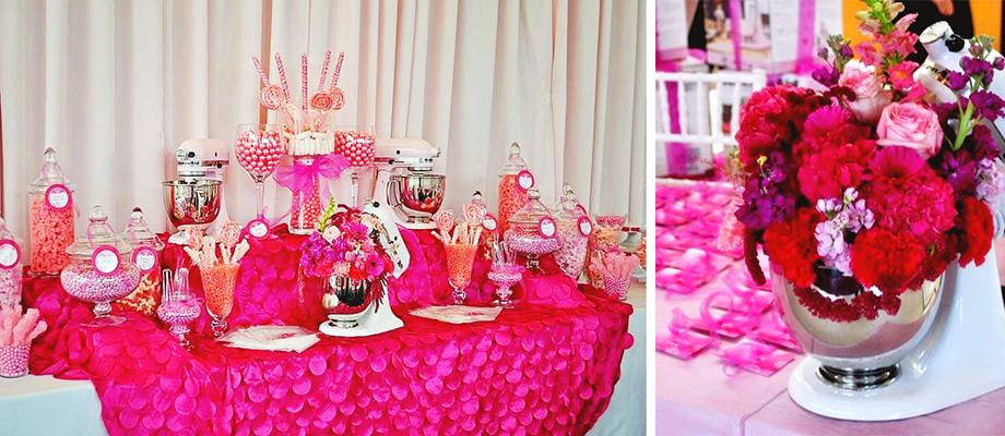 Pink Dessert Table Candy Bar La Vie en Rose Breast Cancer Luncheon Sponsored by KitchenAid| Frosted Events frostedevents.com Breast Cancer Luncheon sponsored by Kitchen Aid