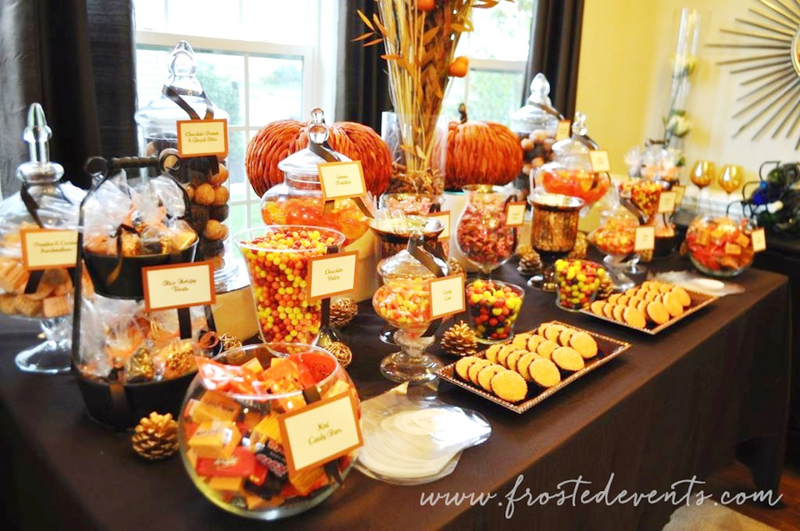 Fall themed Dessert Table Candy Buffet via frostedevents #desserttable #fall #halloween