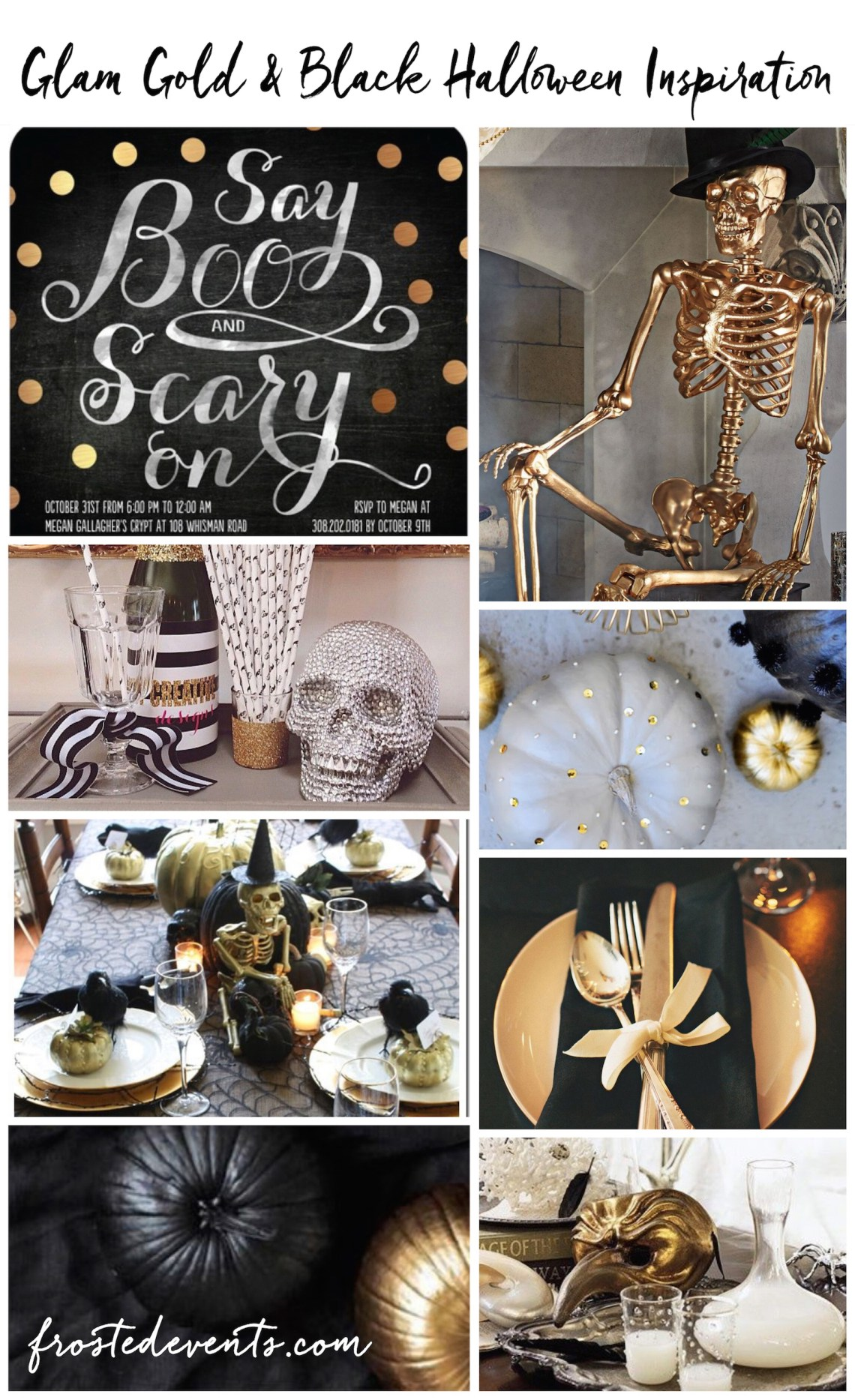 Halloween Party Themes - Gold Glam Halloween Party Inspiration via @frostedevents frostedevents.com