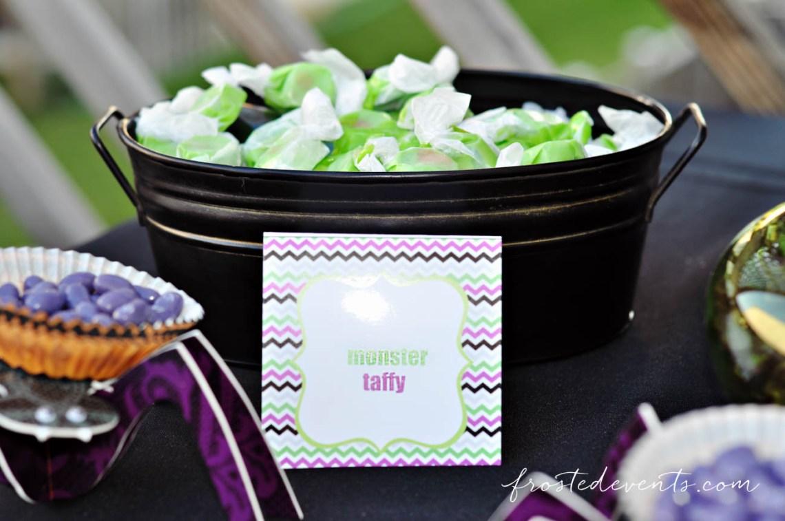 Monster taffy halloween candy treats! Halloween Party Themes - Monster Mash Fun Halloween Party for Kids Ideas + Halloween Printables