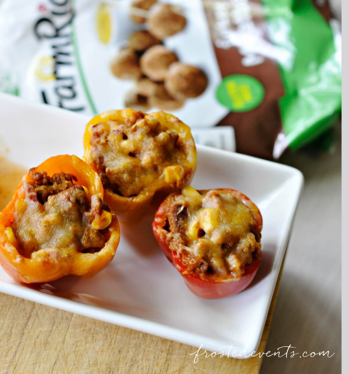 Party Recipes- Mini Southwestern Stuffed Peppers Recipe - Perfect Football Party Food, Appetizer or Farm Rich Snack Idea #recipe