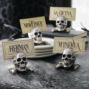 Halloween Decor Table Decorations Silver Skull Placecards by Grandin Road