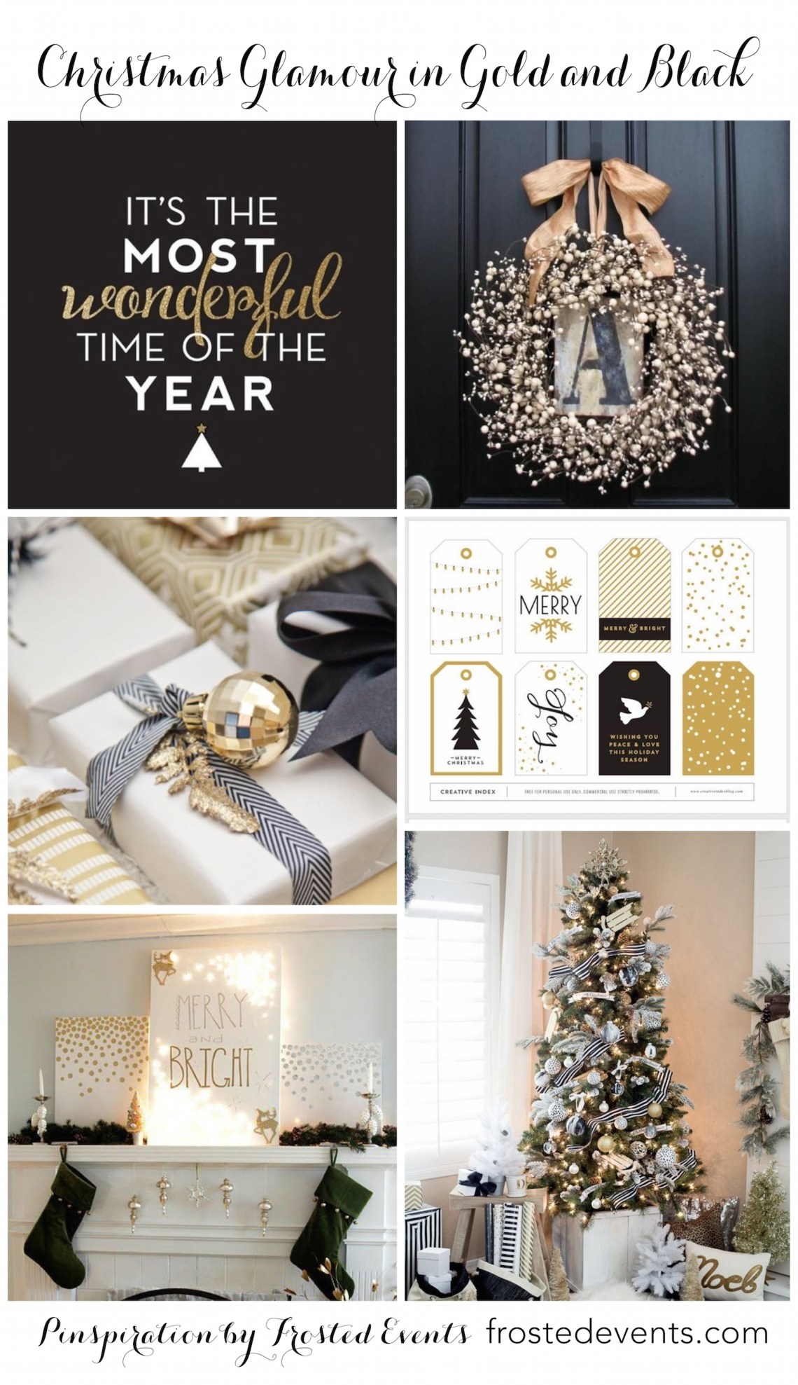 christmas decorating ideas and inspiration black and gold glam frostedeventscom - Black And Gold Christmas Decorations