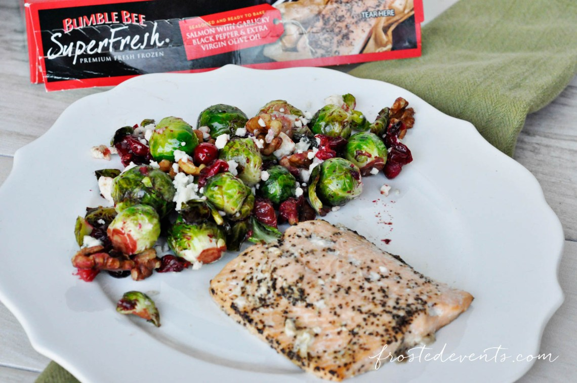 Easy Dinner Ideas make this delicious and healthy salmon meal with tasty cranberry balsalmic brussel sprouts www.frostedevents.com
