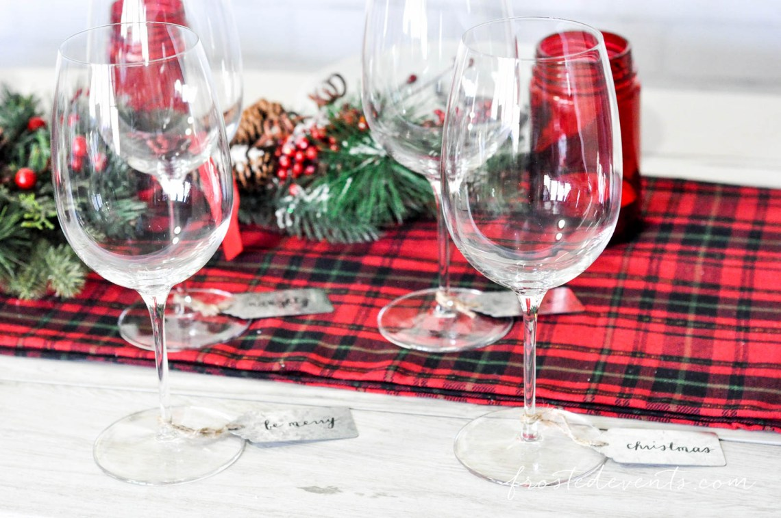 Christmas Dinner Party Decor Red Plaid Reindeer Festive with Libbey Glassware