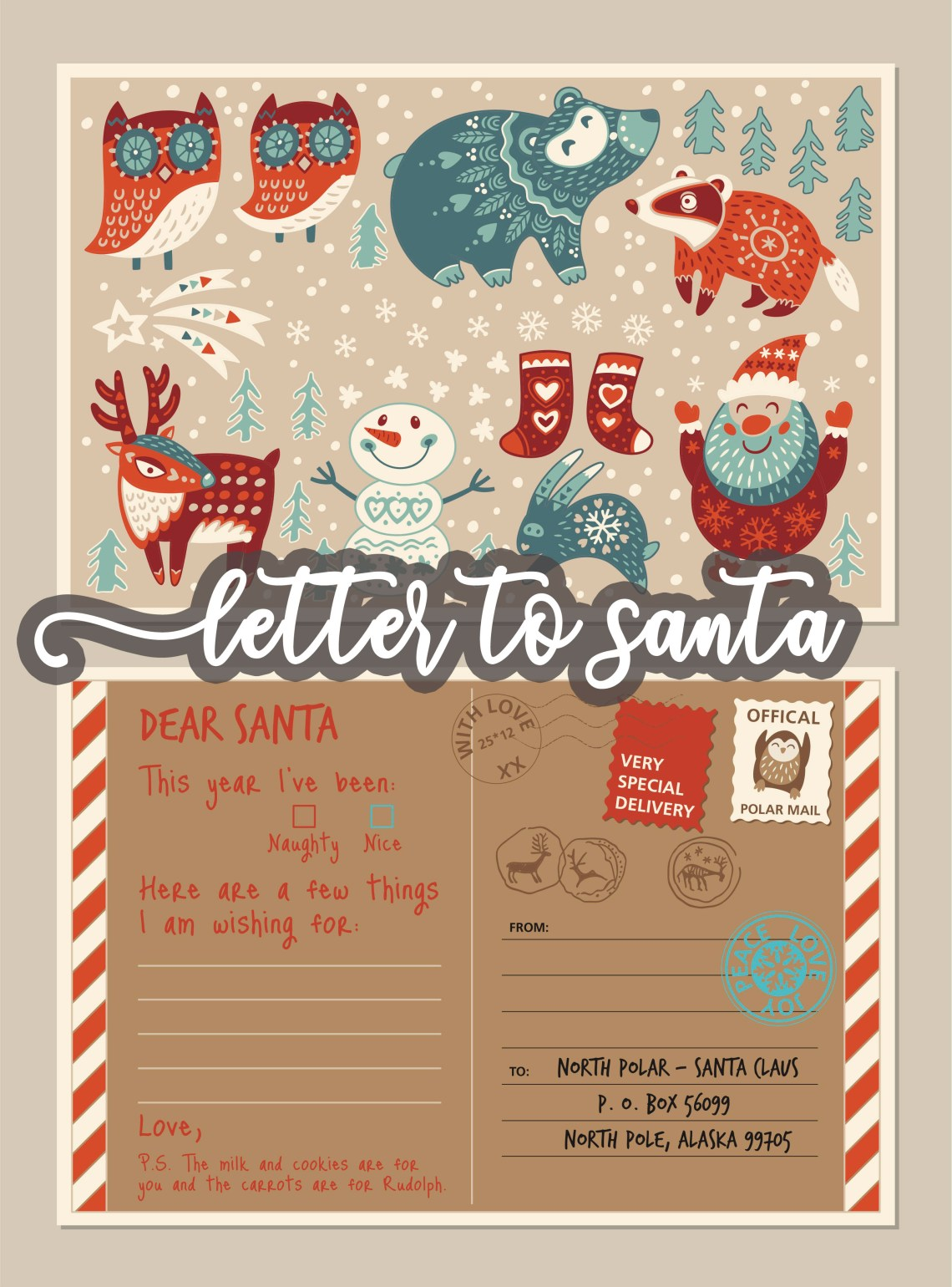 Letter to Santa - Printable kids letter to santa template via Misty Nelson, frostedevents