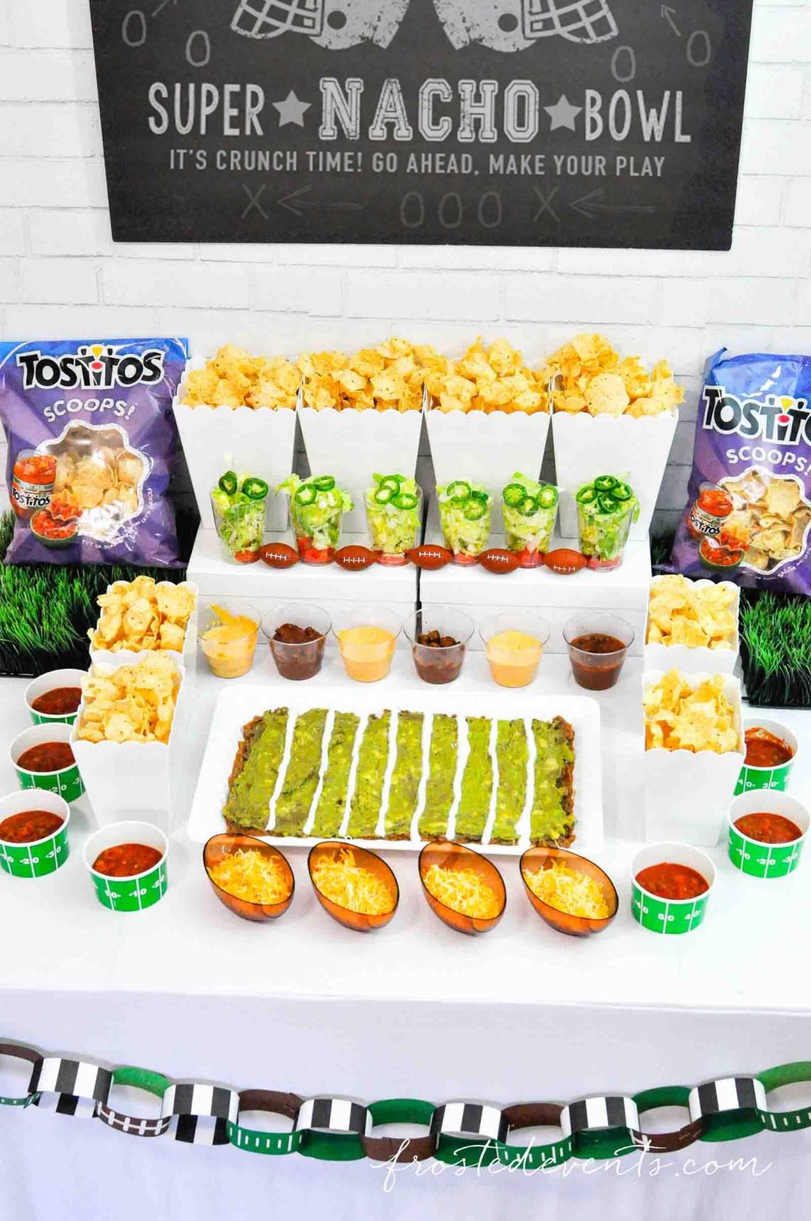 Football Party Ideas - Football party food Super Bowl Nacho Bar with Tostitos Food Ideas