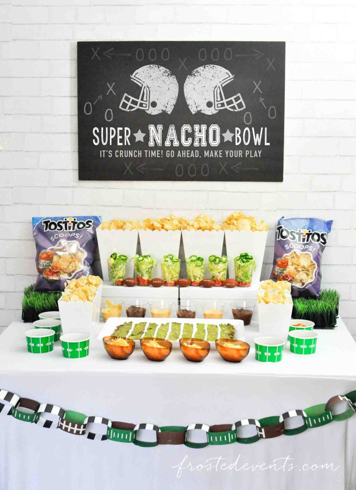Football Party Ideas- Football party food-  Super Bowl Nacho Bar with Tostitos Food Ideas