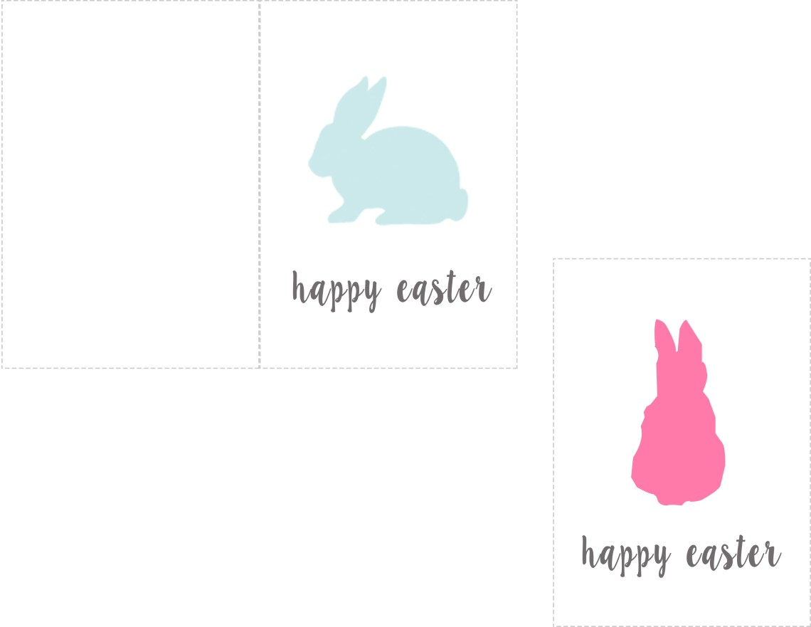 Happy Easter Printable Card Bunny Rabbit Tag