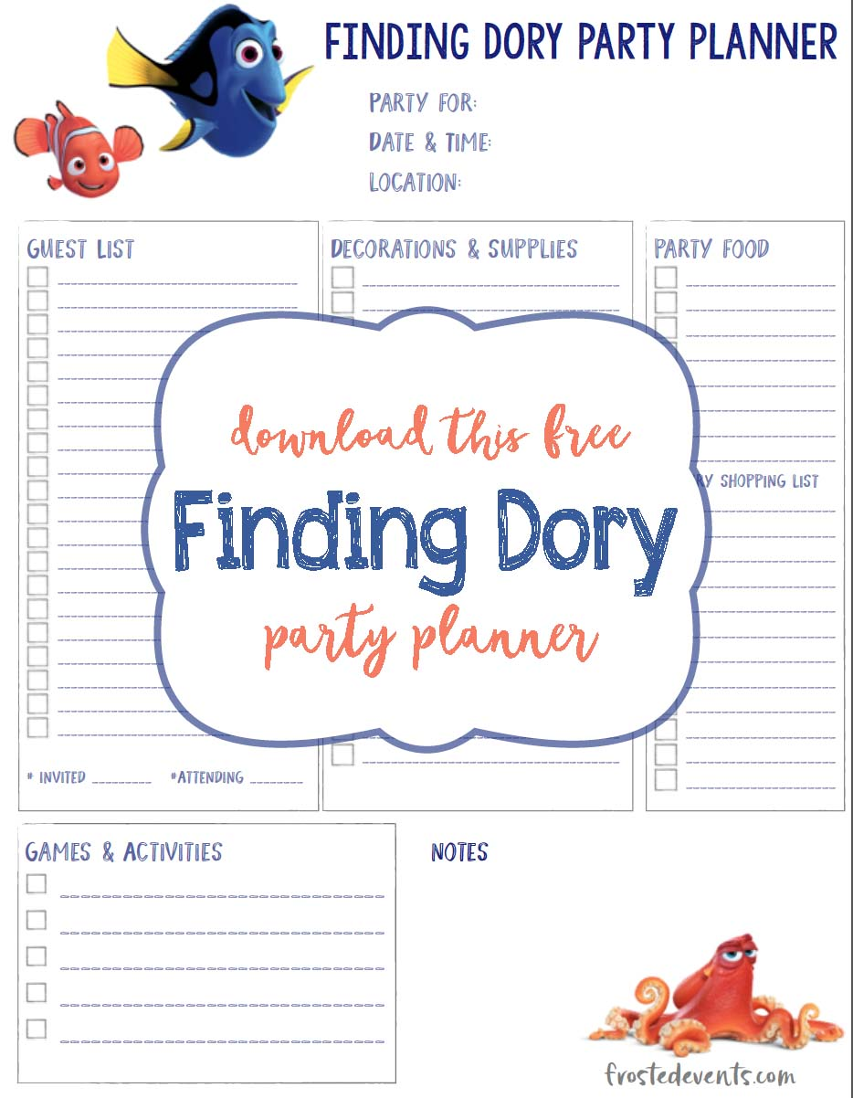 Finding Dory Birthday Party Planning Sheet Free Printable via @frostedevents