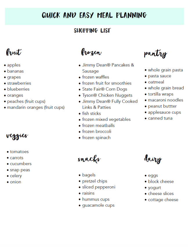 Meal Planning Shopping List Back to School
